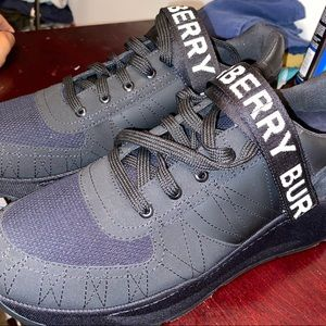 BURBERRY men's size 12 black shoe with logo strap